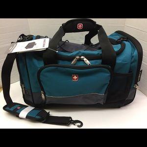 "22"" SWISS GEAR Teal Blk Med Sport Duffel Bag NWT"